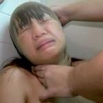 変顔拘束 顔面ストッキング女04