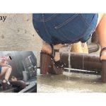 街中尿ガマン女性をPeeping 尿音ビチャビチャおしっこ漏らし